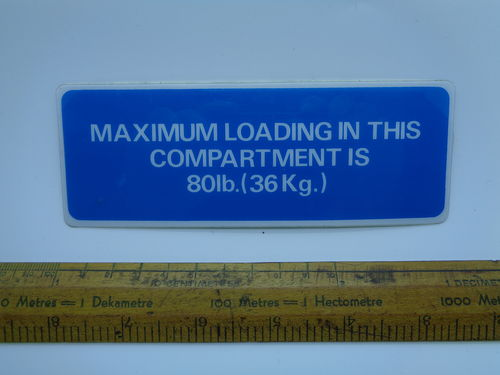 Luggage compartment sticker