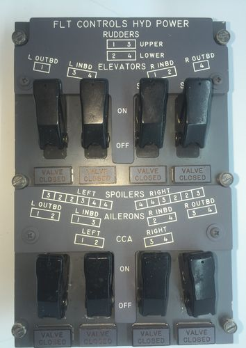 Flight Control Surfaces Hydraulic Override Panel